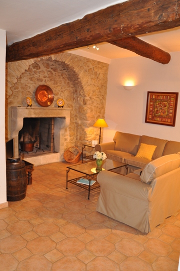 Charm and tradition of the living and cheminey in La Bergerie, Moulin de la Roque, Noves